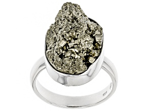 Pre-Owned Drusy Pyrite Rough Sterling Silver Ring
