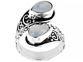 Pre-Owned Rainbow Moonstone Sterling Silver Ring 9x6mm