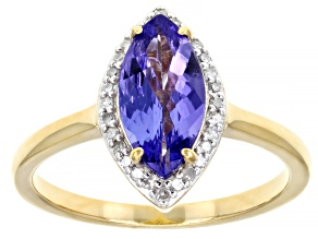 Pre-Owned Blue tanzanite 18k gold over silver ring 1.37ctw