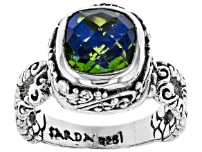 Pre-Owned Multicolor Rainbow Peridot Triplet Silver Ring