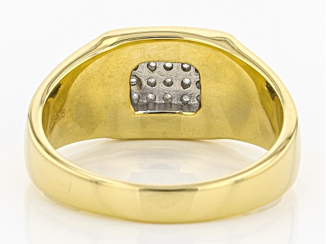 Pre-Owned White Diamond 14k Yellow Gold Over Sterling Silver Gents Ring .25ctw