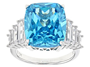 Pre-Owned Blue And White Cubic Zirconia Rhodium Over Sterling Silver Ring 17.32ctw