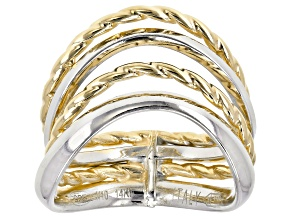 Pre-Owned 14k Yellow Gold & Rhodium over 14k Gold with Sterling Silver Core Wavy Band