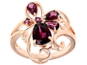 Pre-Owned Purple Rhodolite 18k Rose Gold Over Silver Ring 1.97ctw