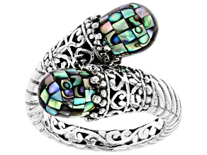 Pre-Owned Multicolor Mosaic Abalone Shell Sterling Silver Ring