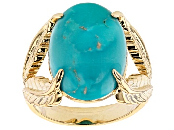 Picture of Pre-Owned Turquoise Sleeping Beauty 18K Yellow Gold Over Silver Ring