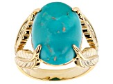 Pre-Owned Turquoise Sleeping Beauty 18K Yellow Gold Over Silver Ring