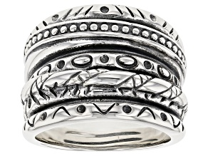 Pre-Owned Sterling Silver Textured Band Ring