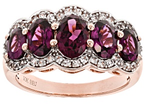 Pre-Owned Grape Color Garnet 10k Rose Gold Ring 3.28ctw