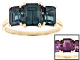 Pre-Owned Blue Lab Created Alexandrite 10k Yellow Gold Ring 3.92ctw