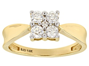 Pre-Owned Moissanite 14k Yellow Gold Ring .42ctw DEW