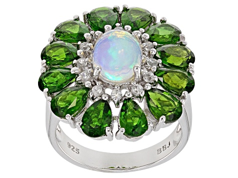 Pre-Owned Multicolor Ethiopian Opal Rhodium Over Silver Ring 5.81ctw