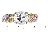Pre-Owned White Pink And Yellow Cubic Zirconia Rhodium/18k Rg And Yg Over Silver Ring 3.87ctw