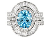 Pre-Owned Blue & White Cubic Zirconia Rhodium Over Sterling Silver Ring With Bands 6.90ctw