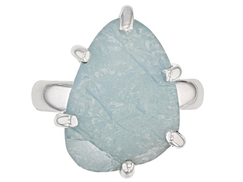 Pre-Owned Blue Aquamarine Rough Sterling Silver Ring