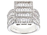 Pre-Owned White Cubic Zirconia Rhodium Over Sterling Silver Cluster Ring 5.14ctw