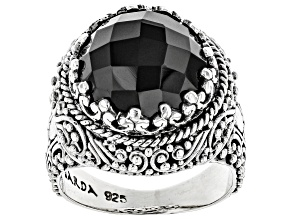 Pre-Owned Black Spinel Silver Ring 7.23ctw
