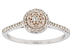 Pre-Owned White Diamond Rhodium and 14K Rose Gold Over Sterling Silver Ring 0.25ctw