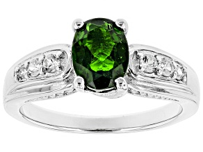 Pre-Owned Green chrome diopside rhodium over sterling silver ring 1.55ctw