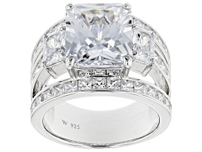 Pre-Owned White Cubic Zirconia Rhodium Over Sterling Silver Ring 14.23ctw