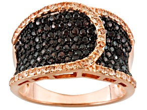 Pre-Owned Brown Cubic Zirconia 18k Rose Gold Over Silver Ring 1.90ctw.