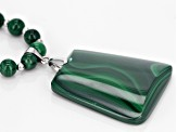 Pre-Owned Green Malachite Rhodium Over Sterling Silver Bead Necklace