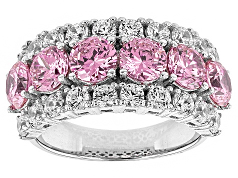 Pre-Owned Pink And White Cubic Zirconia Silver Ring 6.74ctw (3.96ctw DEW)