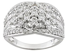 Pre-Owned White Cubic Zirconia Rhodium Over Sterling Silver Ring 2.15ctw