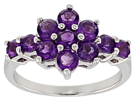 Pre-Owned Purple amethyst rhodium over sterling silver ring 1.29ctw