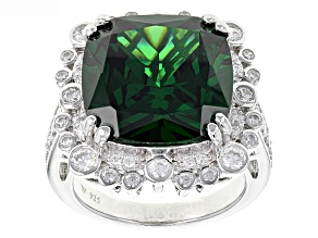 Pre-Owned Green And White Cubic Zirconia Silver Ring 21.60ctw