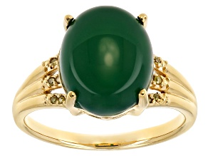 Pre-Owned Green onyx 18k gold over silver ring .03ctw