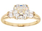 Pre-Owned White Fabulite Strontium Titanate 10k Yellow Gold Ring 3.47ctw