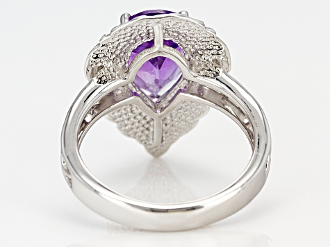 Pre-Owned Purple amethyst sterling silver ring 2.50ct