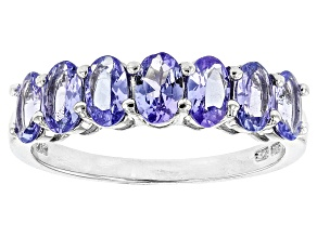 Pre-Owned Blue Tanzanite Rhodium over Sterling Silver 7-stone Band Ring 1.54ctw