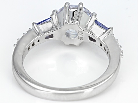 Pre-Owned Blue And White Cubic Zirconia Rhodium Over Sterling Silver Ring 4.30CTW