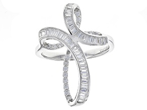 Pre-Owned White Cubic Zirconia Rhodium Over Sterling Silver Ring 1.52ctw.