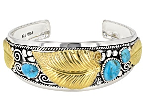Pre-Owned Kingman Turquoise Silver Two-Tone Cuff Bracelet
