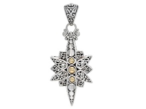Pre-Owned Sterling Silver And 18k Gold Star Pendant
