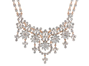 Pre-Owned Off Park ® Collection White Crystal Rose Tone Statement Necklace