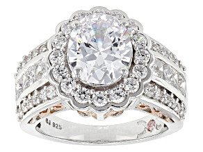 Pre-Owned Cubic Zirconia Silver And 18k Rose Gold Over Silver Ring 7.94ctw (4.46ctw DEW)