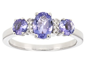 Pre-Owned Blue tanzanite rhodium over sterling silver ring 1.11ctw