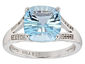 Pre-Owned Sky blue topaz rhodium over sterling silver ring 4.63ctw