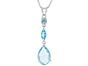 Pre-Owned Sky Blue Topaz Rhodium Over Silver Pendant With Chain 5.00ctw