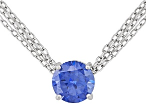 Pre-Owned 7.20ct Tanzanite Color Rhodium Plated Sterling Solitaire Necklace