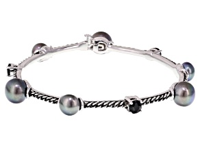 Pre-Owned Cultured Freshwater Pearl With Black Onyx Rhodium Over Silver Bracelet