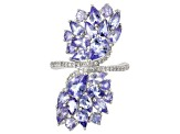 Pre-Owned Blue tanzanite rhodium over sterling silver ring 4.24ctw