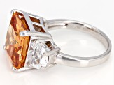 Pre-Owned Champagne & White Cubic Zirconia Rhodium Over Sterling Silver 3 Stone Ring 14.67ctw