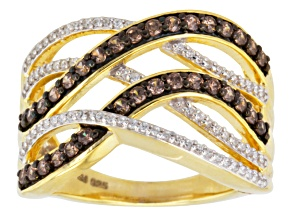 Pre-Owned Brown And White Cubic Zirconia 18k Yellow Gold Over Silver Ring 1.33ctw (.67ctw DEW)
