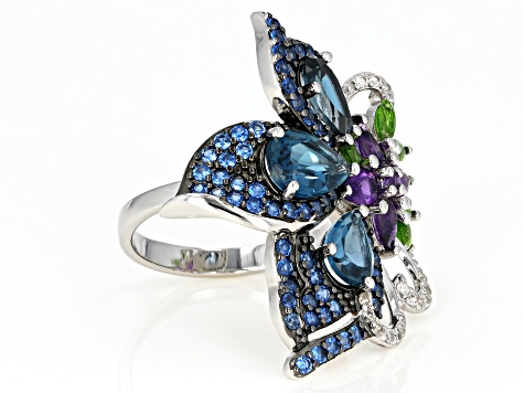 Pre-Owned London Blue Topaz Rhodium Over Sterling Silver Ring 5.42ctw