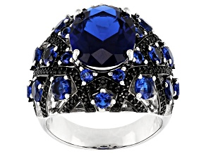 Pre-Owned Blue Lab Spinel Rhodium Over Silver Ring 6.53ctw